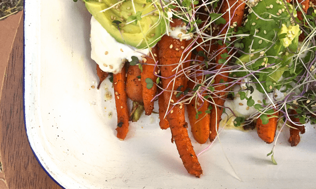Spiced Roasted Carrots with Micro Greens and Yogurt