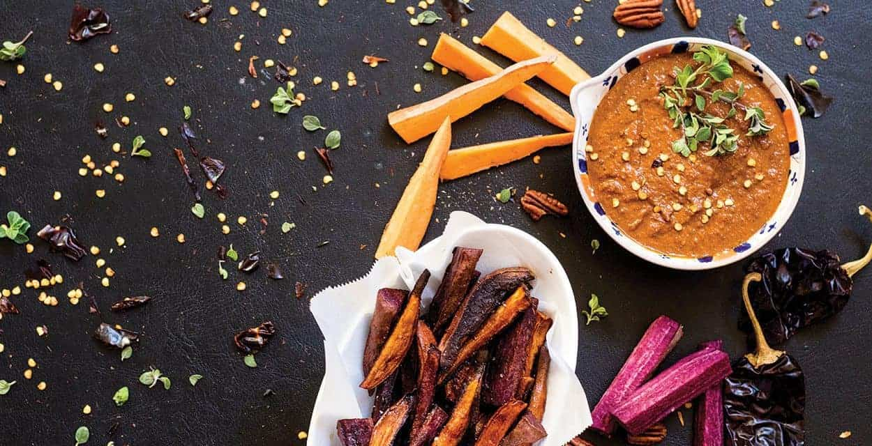 Sweet Potato Fries and Sweet Potato Red Chile Sauce