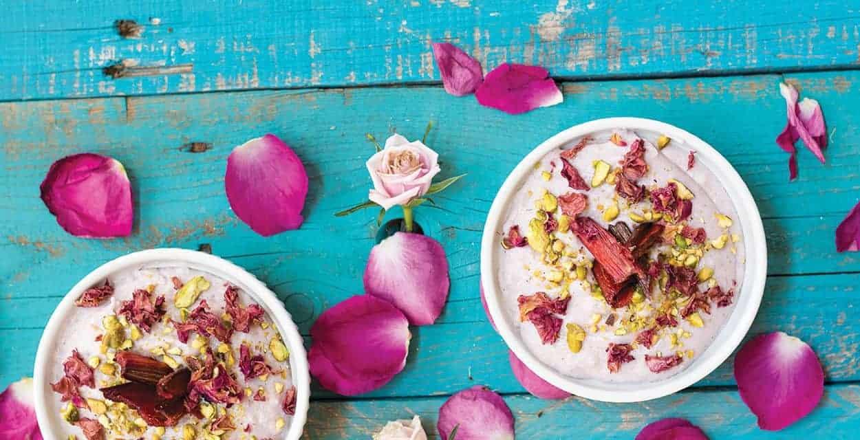Blue Corn Polenta with Rose-roasted Rhubarb