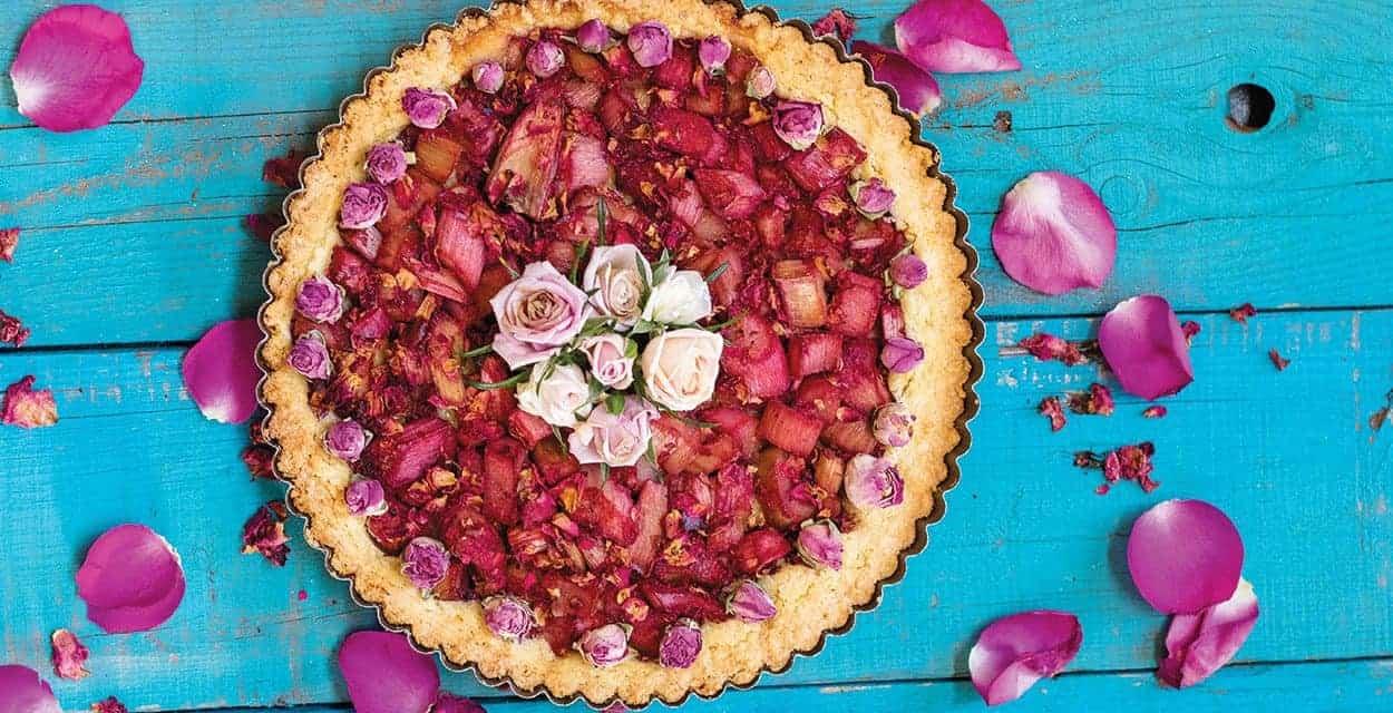 Rhubarb and Rose Petal Tart