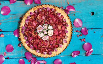 Rhubarb and Rose Petal Tart