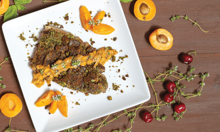 Basil and Pistachio Crusted Lamb with Apricot Reduction
