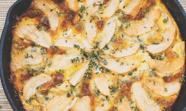 Pear, Bourbon, Thyme, and Brie Clafoutis