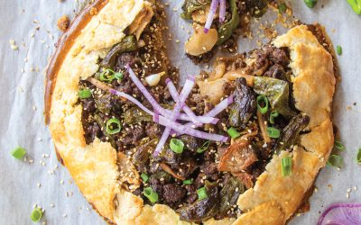 Mongolian Beef with Shishito Peppers and Daikon Radishes Galette