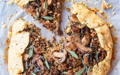 Sausage with Caramelized Onion and Mushrooms Galette